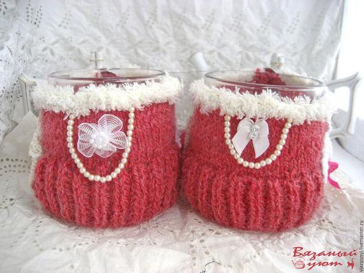 """Кухня ручной работы. Ярмарка Мастеров - ручная работа. Купить Грелка на чашку """"Розовое платье"""" с чашкой на выбор. Handmade."""