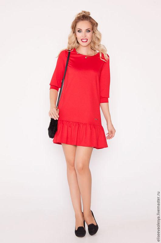 Платья ручной работы. Ярмарка Мастеров - ручная работа. Купить Ультрамодное красное платье  28003. Handmade. Платье из трикотажа