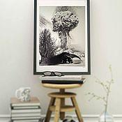 """Картины и панно handmade. Livemaster - original item Черно-белая картина """"Ядерное испытание муравьеда"""".29,5х23,5. Handmade."""