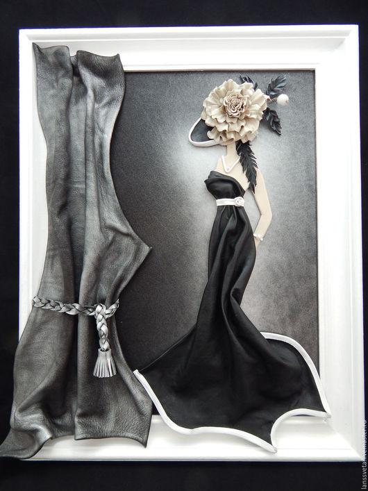 Люди, ручной работы. Ярмарка Мастеров - ручная работа. Купить Картина из кожи Дама в шляпе. Объемная картина из кожи.. Handmade.