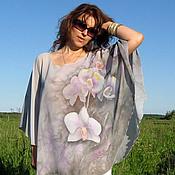 """Одежда handmade. Livemaster - original item Авторская туника """"Дымчатая орхидея"""" - батик. Handmade."""
