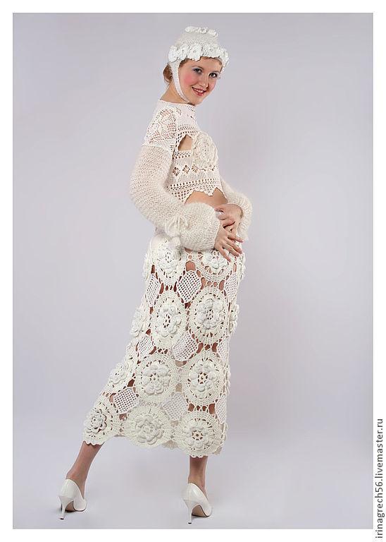 """Костюмы ручной работы. Ярмарка Мастеров - ручная работа. Купить костюм из коллекции """"Белое танго"""". Handmade. Белый, юбка крючком"""