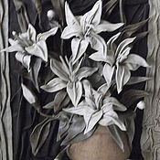 """Картины и панно ручной работы. Ярмарка Мастеров - ручная работа Натуральная кожа. Авторская работа """"Лилии"""". Handmade."""