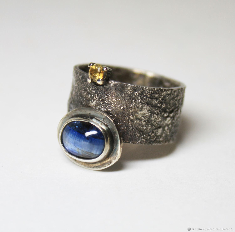 Кольца ручной работы. Ярмарка Мастеров - ручная работа. Купить Кольцо с кианитом. Handmade. Голубой, кольцо серебро, кольцо с кабошоном