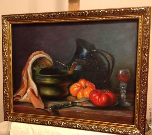 Натюрморт ручной работы. Ярмарка Мастеров - ручная работа. Купить Натюрморт с кувшином и томатами. Handmade. Оранжевый цвет, винтаж