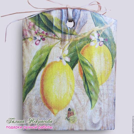 """Кухня ручной работы. Ярмарка Мастеров - ручная работа. Купить Панно из сосны """" Лимоны """". Handmade. Коричневый, для кухни"""