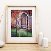 Картины и панно handmade. Livemaster - original item Painting pastel Venice Door #1 (red green terracotta). Handmade.