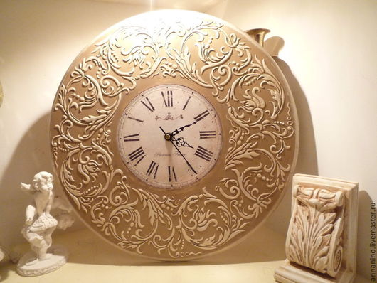 Часы для дома ручной работы. Ярмарка Мастеров - ручная работа. Купить Настенные часы Вальс Крем Брюле. Handmade. Бежевый