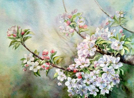 Картины цветов ручной работы. Ярмарка Мастеров - ручная работа. Купить Ветка яблони. Handmade. Бледно-розовый, цветы яблони