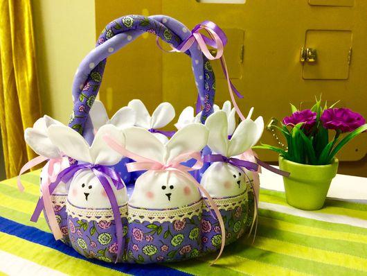 Подарки на Пасху ручной работы. Ярмарка Мастеров - ручная работа. Купить Корзинка с зайцами. Handmade. Корзинка для мелочей, пасхальный сувенир