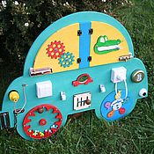 """Бизиборды ручной работы. Ярмарка Мастеров - ручная работа Бизиборд """"Машинка"""". Развивающая доска Монтессори. Handmade."""