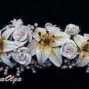 """Свадебный салон ручной работы. Ярмарка Мастеров - ручная работа Украшение- венок на голову невесты из белых лилий и белых роз """"Миледи"""". Handmade."""
