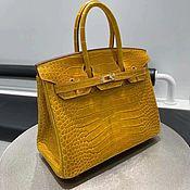 Сумки и аксессуары handmade. Livemaster - original item Classic Himalayan crocodile leather bag in yellow.. Handmade.