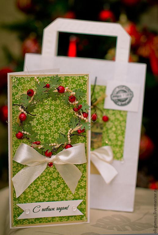 Открытки к Новому году ручной работы. Ярмарка Мастеров - ручная работа. Купить Новогодняя открытка в подарочном конверте 3. Handmade.