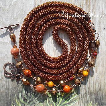 Decorations handmade. Livemaster - original item Lariat, harness transformer, brown-amber, aventurine, chrysocolla. Handmade.