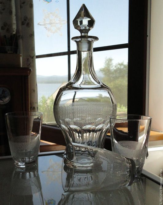Винтажная посуда. Ярмарка Мастеров - ручная работа. Купить Старинный графин и три стакана. Модерн. Фацетное гранение, гильош.. Handmade.
