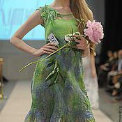 Одежда ручной работы. Ярмарка Мастеров - ручная работа Платье зеленое с синим 36. Handmade.