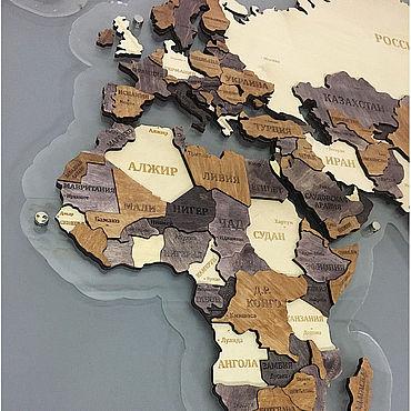 Для дома и интерьера ручной работы. Ярмарка Мастеров - ручная работа Элементы интерьера: Карта мира из дерева объемная 3D на подложке. Handmade.