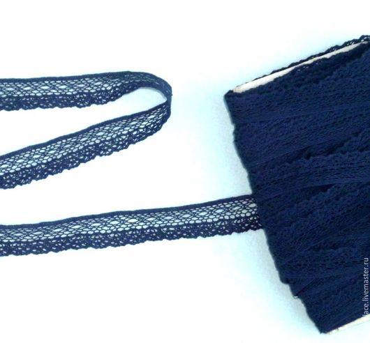 Шитье ручной работы. Ярмарка Мастеров - ручная работа. Купить Темно-синее хлопковое тонкое ажурное кружево арт. 9-19. Handmade.