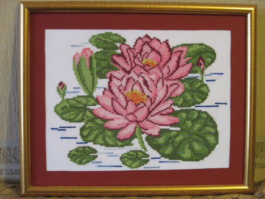 Картины цветов ручной работы. Ярмарка Мастеров - ручная работа. Купить Лотосы. Handmade. Ручная вышивка, Вышитая картина, паспарту
