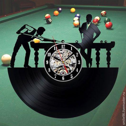 """Часы для дома ручной работы. Ярмарка Мастеров - ручная работа. Купить Часы из пластинки """"Бильярд"""". Handmade. Бильярд, игра, спорт"""