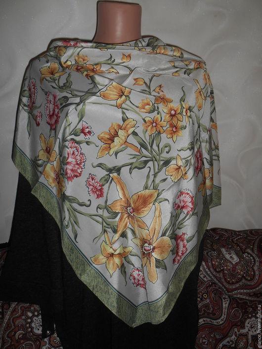 """Шитье ручной работы. Ярмарка Мастеров - ручная работа. Купить """"Аромат весны"""" платок шелковый - крепдешин. Handmade. Платок"""