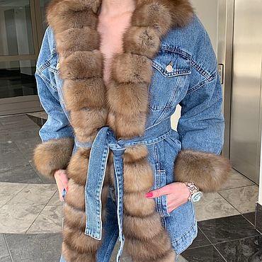 Одежда ручной работы. Ярмарка Мастеров - ручная работа Джинсовая куртка с мехом куницы. Handmade.