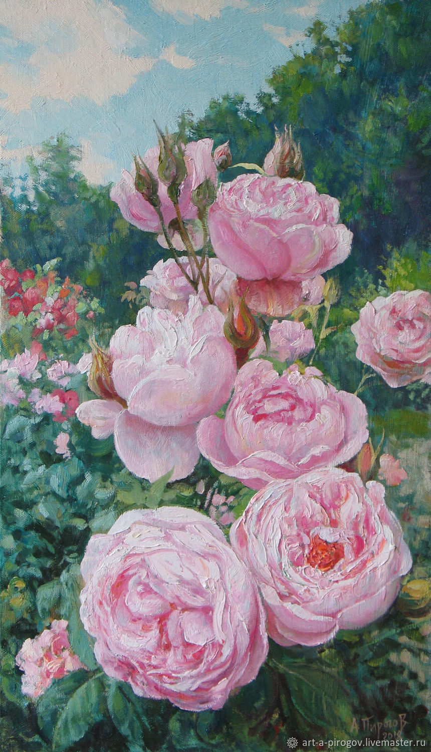 Pink Roses On The Street The Rose Bush Painting With Flowers