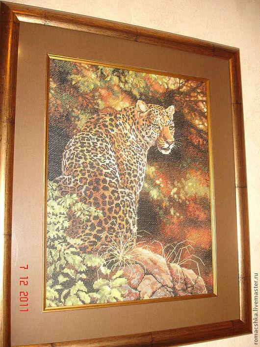 Животные ручной работы. Ярмарка Мастеров - ручная работа. Купить Леопард. Handmade. Коричневый, леопард вышивка, канва мулине