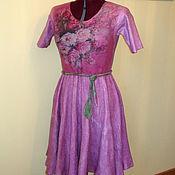 "Одежда ручной работы. Ярмарка Мастеров - ручная работа Валяное платье "" Дымчатая роза ""  розовое солнцеклёш. Handmade."