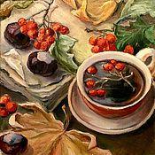 Картины и панно ручной работы. Ярмарка Мастеров - ручная работа Картина маслом  Рябиновый чай. Handmade.