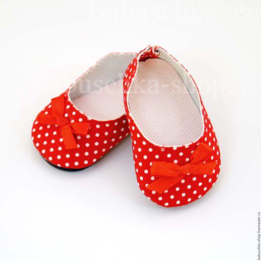 Куклы и игрушки ручной работы. Ярмарка Мастеров - ручная работа. Купить Обувь для кукол. Туфли красные в горох - 6,5 см. Handmade.