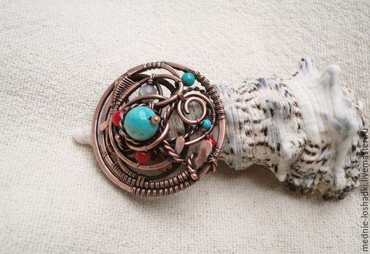 Кольца ручной работы. Ярмарка Мастеров - ручная работа. Купить Кольцо с бирюзой и кораллом. Handmade. Бирюзовый, Медь ручной работы