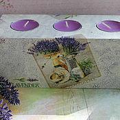 Для дома и интерьера handmade. Livemaster - original item Candle holder Bouquet of lavender decoupage. Handmade.