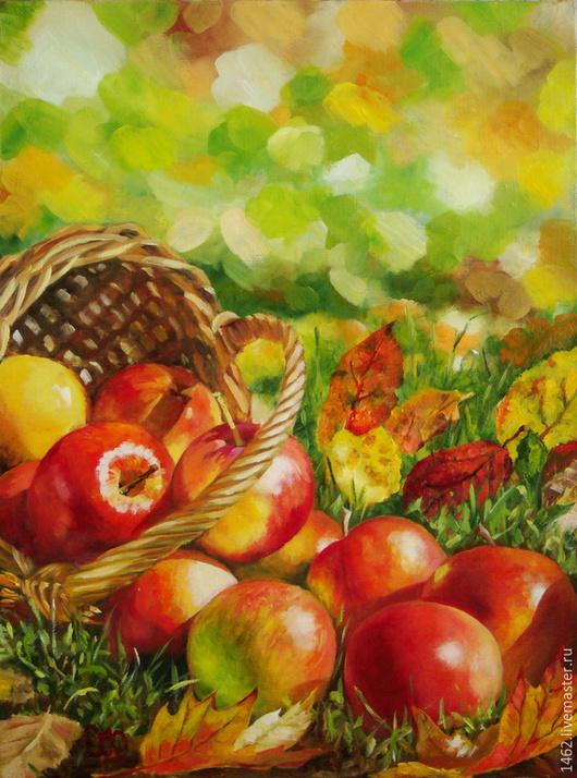 """Натюрморт ручной работы. Ярмарка Мастеров - ручная работа. Купить Картина маслом """"Осенние яблочки"""". Handmade. Красный, желтый, корзинка"""