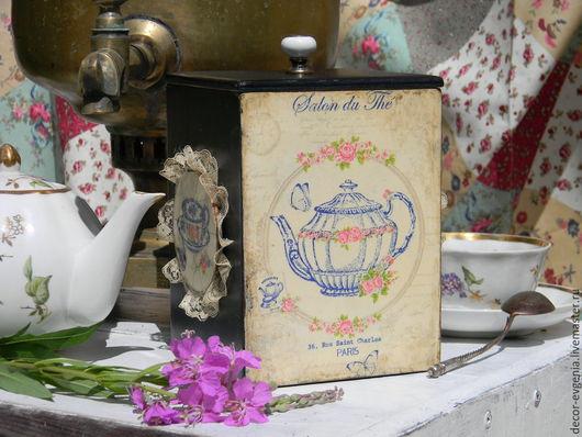 """Кухня ручной работы. Ярмарка Мастеров - ручная работа. Купить Чайный короб """"Лучшие традиции.."""". Handmade. Синий, подарок"""