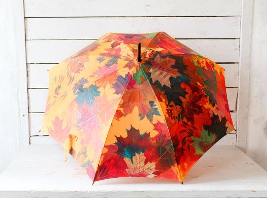 Зонты ручной работы. Ярмарка Мастеров - ручная работа. Купить Зонт с ручной росписью Осенний клён и рябина. Handmade. Оранжевый