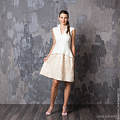 Одежда handmade. Livemaster - original item White-beige dress with peplum. Handmade.