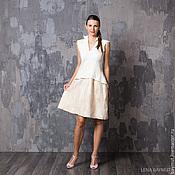 Одежда ручной работы. Ярмарка Мастеров - ручная работа Бело-бежевое платье с баской. Handmade.