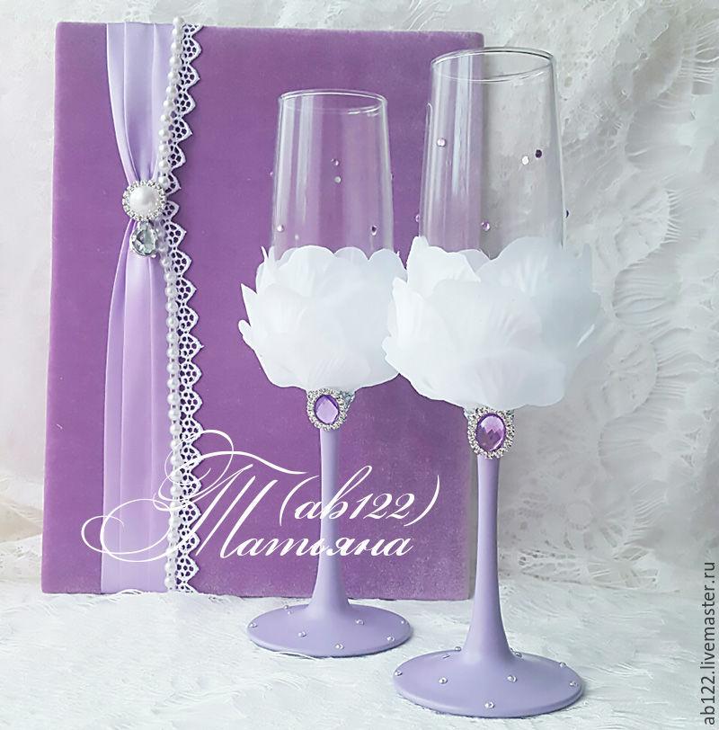 Купить Бокалы с лепестками роз-сиреневая свадьба - сиреневый, бокалы для свадьбы, бокалы для молодоженов