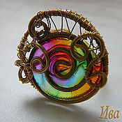 handmade. Livemaster - original item Ring made of brass with stained glass insert