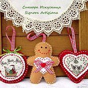Подарки к праздникам handmade. Livemaster - original item Christmas decorations 3 pieces of felt Gingerbread man. Handmade.