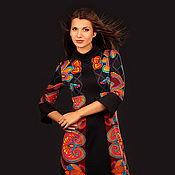 Одежда ручной работы. Ярмарка Мастеров - ручная работа Комбинированное  трикотажное платье А-силуэта, р-р 44. Handmade.