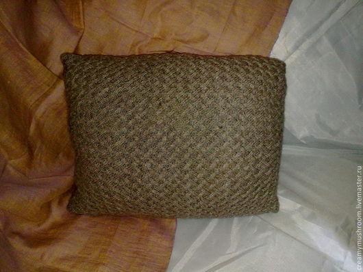 Текстиль, ковры ручной работы. Ярмарка Мастеров - ручная работа. Купить Вязаная наволочка. Handmade. Бежевый, наволочка на подушку, полушерсть