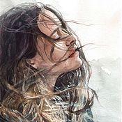 """Картины и панно ручной работы. Ярмарка Мастеров - ручная работа """"Ветер"""". Девушка.Портрет.Акварель.. Handmade."""