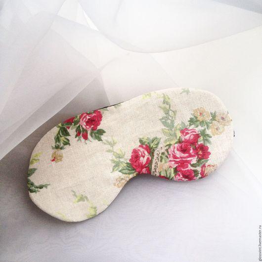 Белье ручной работы. Ярмарка Мастеров - ручная работа. Купить Маска для сна. Handmade. Бежевый, розовый, розы, цветы