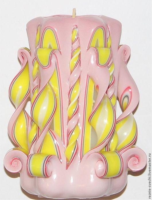 Свечи ручной работы. Ярмарка Мастеров - ручная работа. Купить Резная свеча Филадельфия желто-черно-розовая. Высота резной свечи 11см. Handmade.