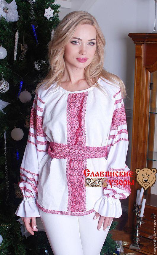 """Этническая одежда ручной работы. Ярмарка Мастеров - ручная работа. Купить Блуза """"Миролада"""" красная. Handmade. Белый, блуза женская"""