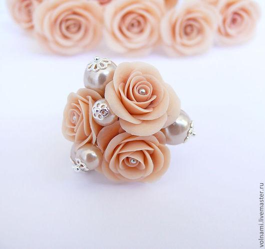 """Кольца ручной работы. Ярмарка Мастеров - ручная работа. Купить """"Fiona"""" кольцо. Handmade. Бежевый, розы, полимерная глина, термопластика"""
