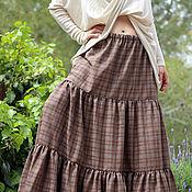 Одежда ручной работы. Ярмарка Мастеров - ручная работа Большой размер юбка коричневая. Handmade.